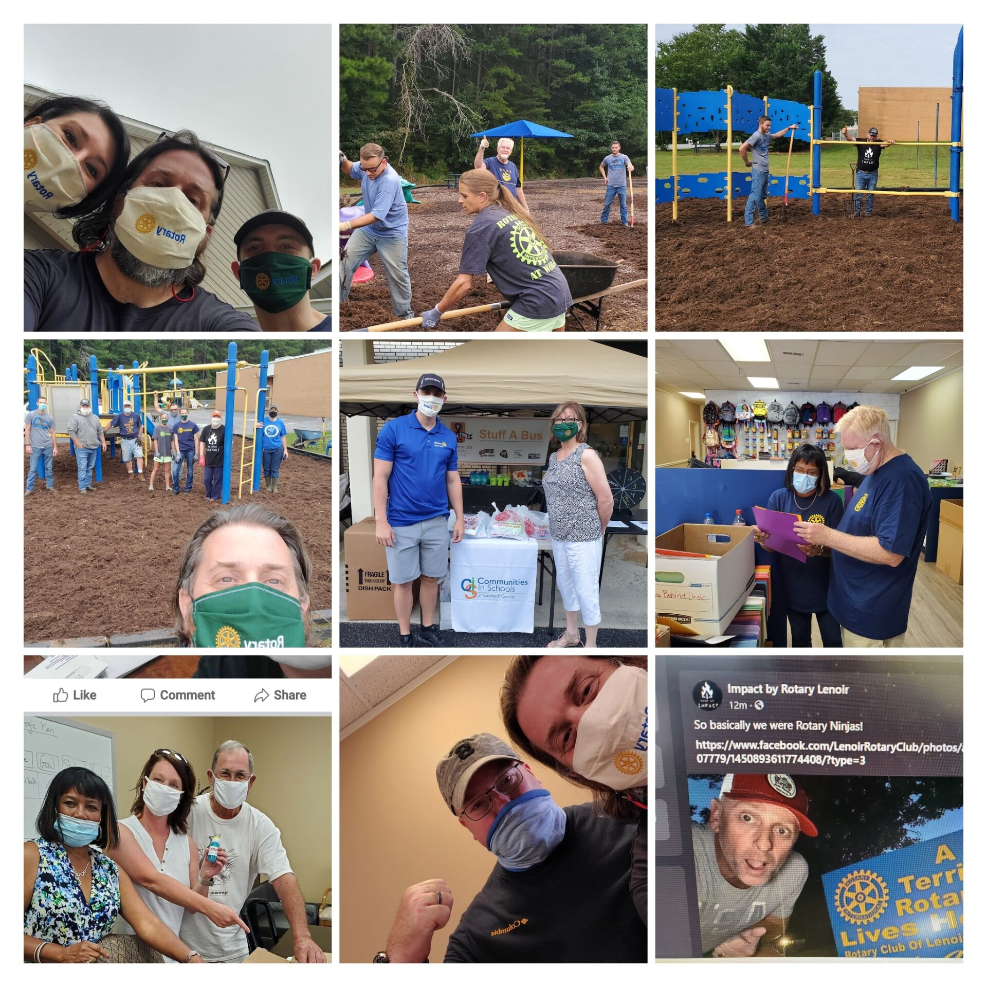 Grid of 9 pictures of Rotarians in masks performing various service projects