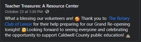 Teacher Treasures: A Resource Center: What a blessing our volunteers are! ::emoji of hearts around face:: Thank you to The Rotary Club of Lenoir for their help preparing for our Grand Re-opening tonight! ::celebration emoji:: Looking forward to seeing everyone and celebrating the opportunity to support Caldwell County public education ::desk emoji::